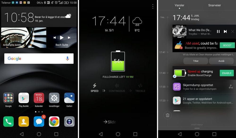 Slik ser menyene i Huawei Mate 8 ut. Her får du ingen appmeny, men telefonen leveres med den superirriterende appen Clean Master som skal forbedre alt mulig på telefonen din. Men den maser også som et uvær, og var den første og eneste medfølgende appen vi fjernet helt fra telefonen, som uansett har tilsvarende funksjoner for det meste.