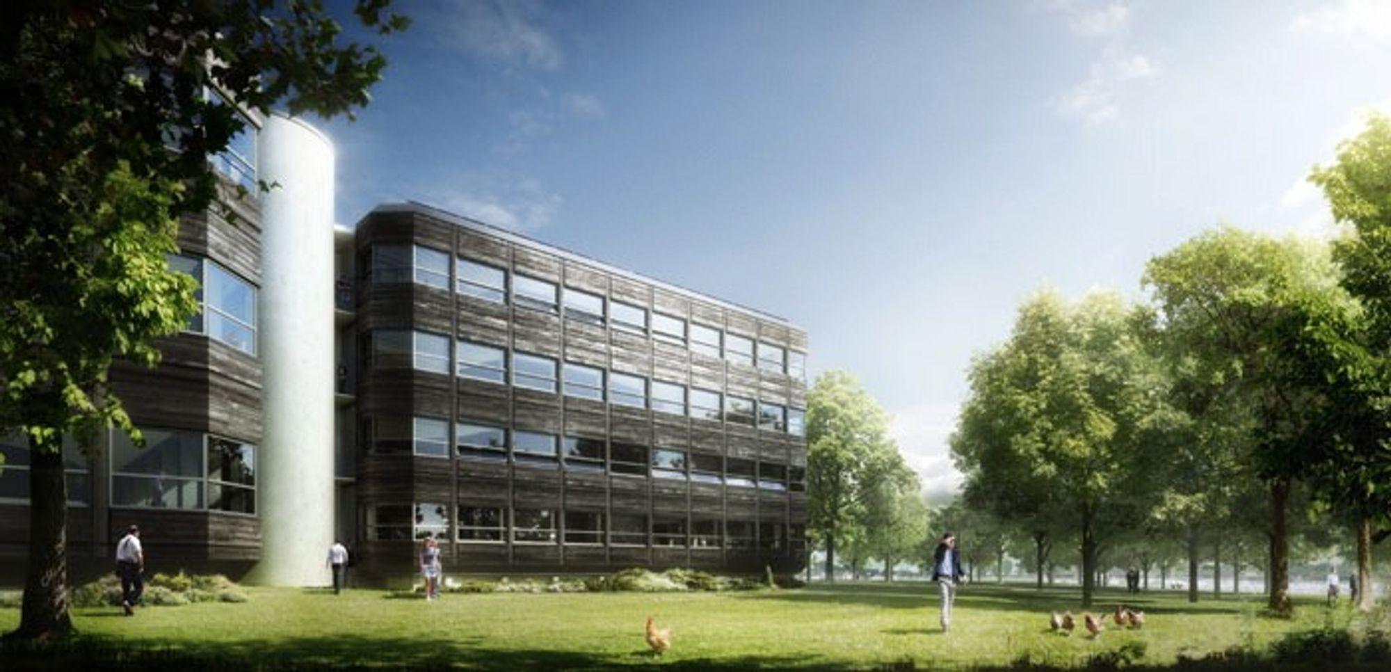 Fra energisluk til plusshus: Dette kontorbygget i Bærum har vært gjennom den mest omfattende rehabilitering noe norsk næringsbygg har vært utsatt for. Målet er at bygget skal produsere mer energi enn det bruker.