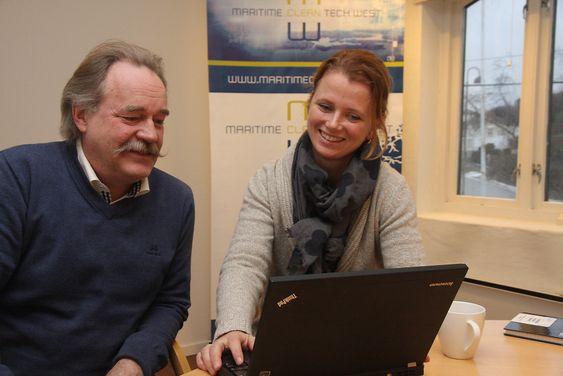 Glede: Nils Aadland og Hege Økland i klyngesamarbeidet Martime Clean Tech West er fornøyde med omsetningsveksten til medlemsbedriftene i Sunnhordaland.