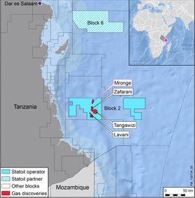 Statoil opererer Blokk 2-lisensen på vegne av Tanzania Petroleum Development Corporation (TPDC) med en eierandel på 65 prosent. ExxonMobil er partner med en andel på 35 prosent.