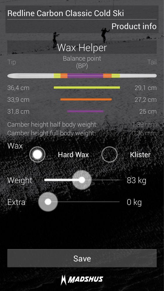 Den nye appen til Madshus forteller hvordan du skal smøre skiene ut fra informasjon om blant annet skienes spennkurve og kroppsvekt