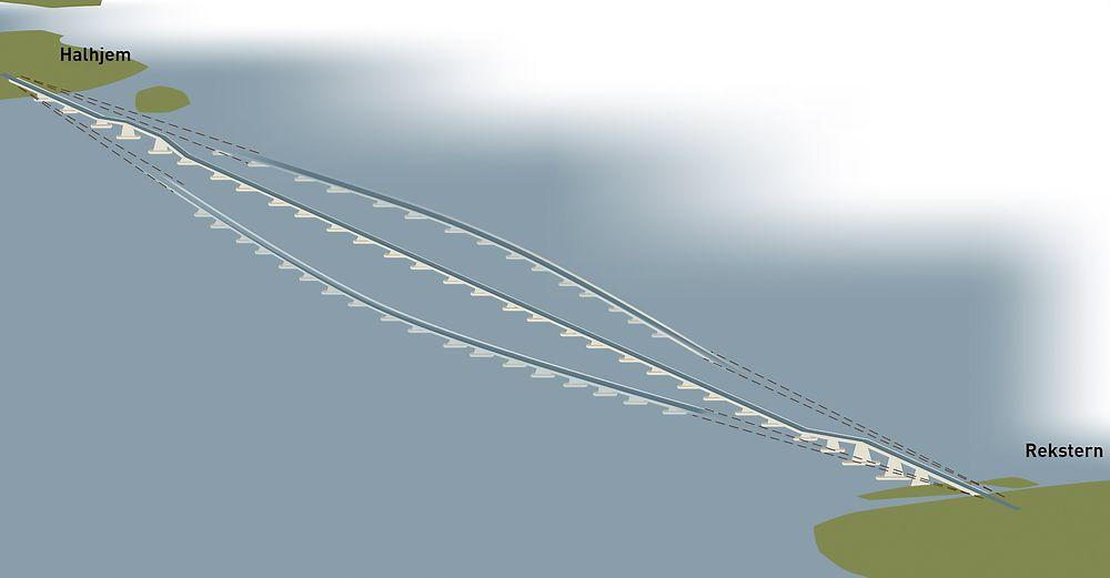 Flytebro: Ideen som Multiconsult nå har fått midler til å videreutvikle er å ledde sammen stive elementer. Brua vil da kunne bevege seg med vind og strøm.