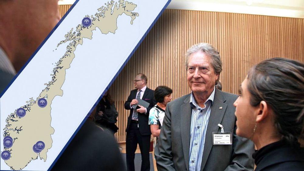 Kartet viser planlagte realfagsgymnas i Norge. På bildet er NRG-gründer Roger Elstad.