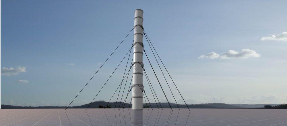Varm luft skal stige opp underfra et dekke og opp gjennom pipa. På veien opp, stiger luften opp gjennom turbiner som genererer elektrisitet ut av prosessen.
