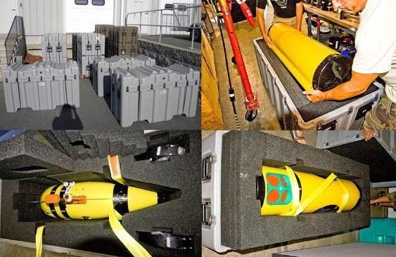 Slik ser det ut når Munin skal ut på tur. AUV-systemet pakkes i moduler i pelicase-kasser.