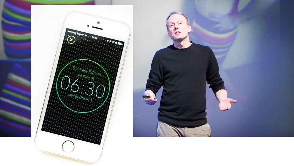 Robotstemme: Gründer Espen Systad og capsule.fm vil vekke deg med vennlige robotstemmer. Foto: Eirik Helland Urke