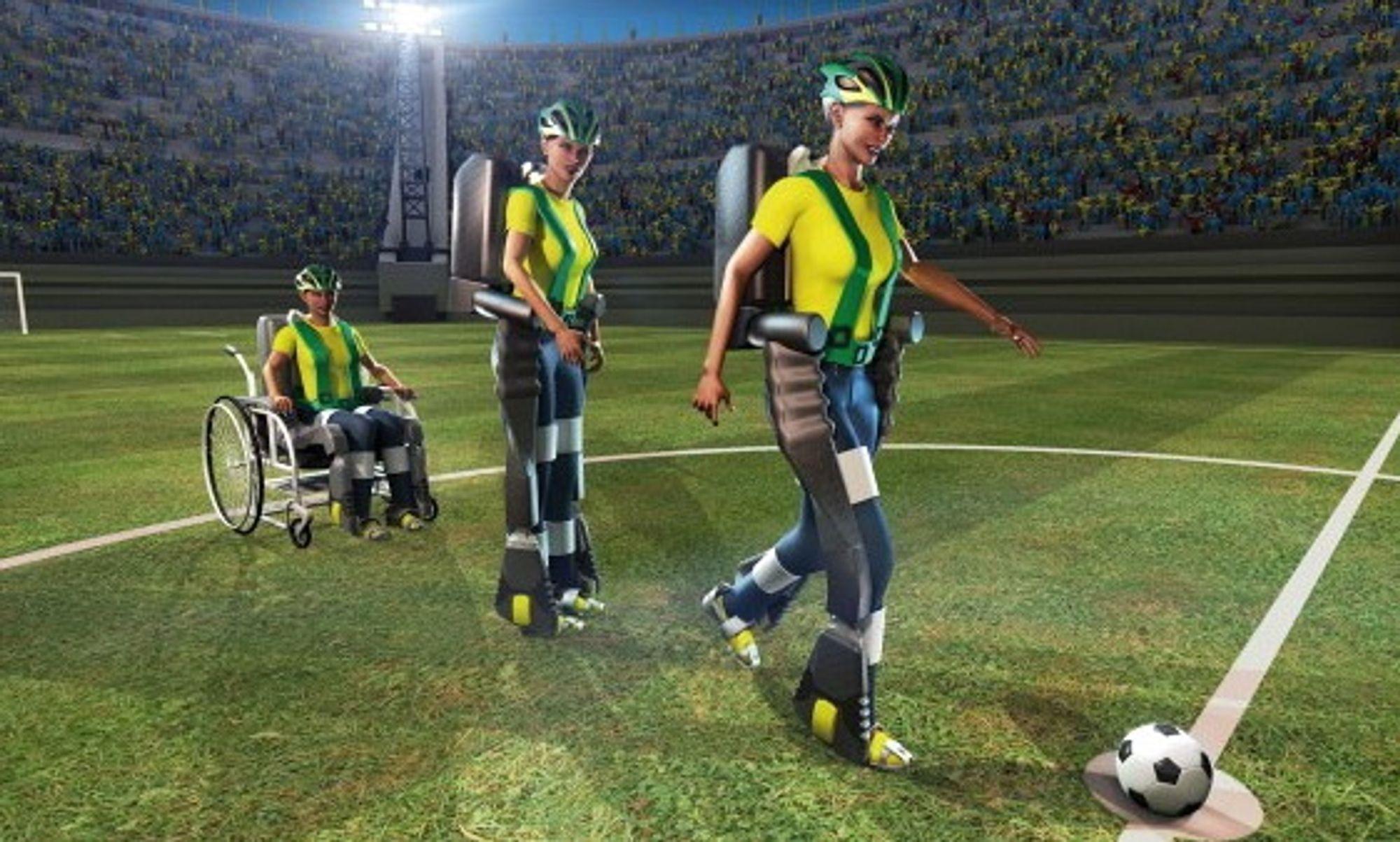 Slik ser forskerne i Walk Again Project for seg at avsparket under årets fotball-VM i Brasil vil gå for seg.