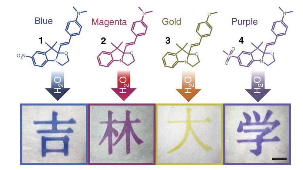 Fargeeksempler fra printeren. Det finnes ikke et like rikelig fargespekter for de miljøvennlige printerene. CMYK blir erstattet med monokrom BMGP.