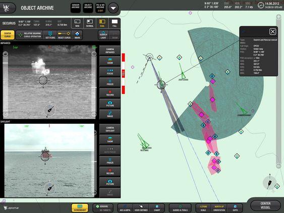 """Vakt: Landkontrollen vil ha full kontroll med det autonome skipet. Operatøren vil se to videobilder fra henholdsvis IR og dagslyskamera, sammen med et kartutsnitt på høyre side. Kartutsnittet viser situasjonen rundt fartøyet, basert på input fra ulike typer sensorer (AIS, radar bilde, ARPA targets, projiserte videobilder), som sammen bidrar til å bygge opp en beskrivelse av """"virkeligheten"""". Denne beskrivelsen blir input til det autonome fartøyets """"intelligens"""" som kontrollerer fartøyet."""