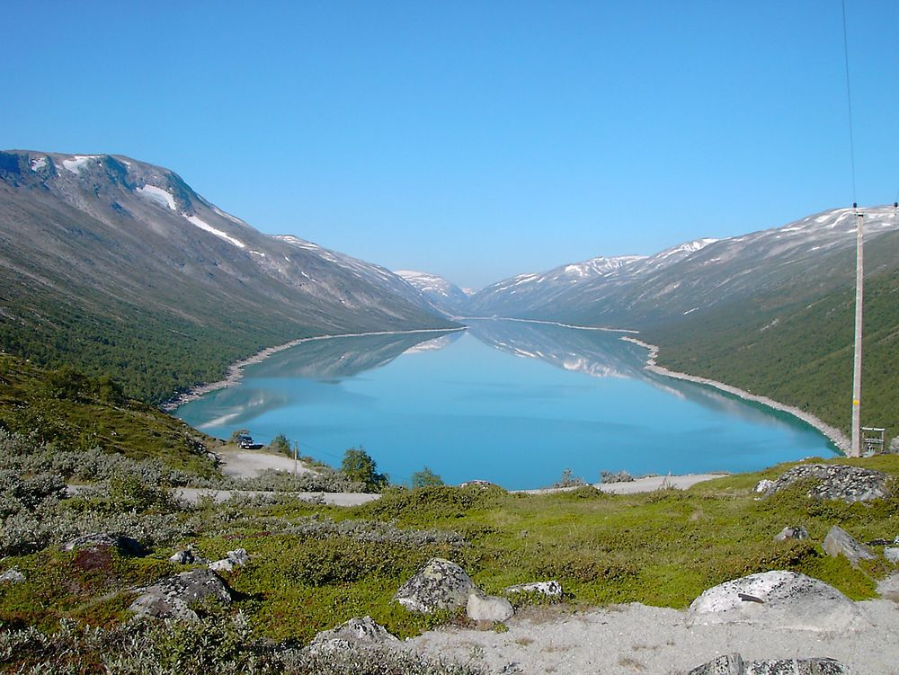 Trygg kraftforsyning i vinter. Magasin-situasjonen i Sør-Norge er svært god, melder Statnett. Bildet viser Øvre Otta vannmagasin.