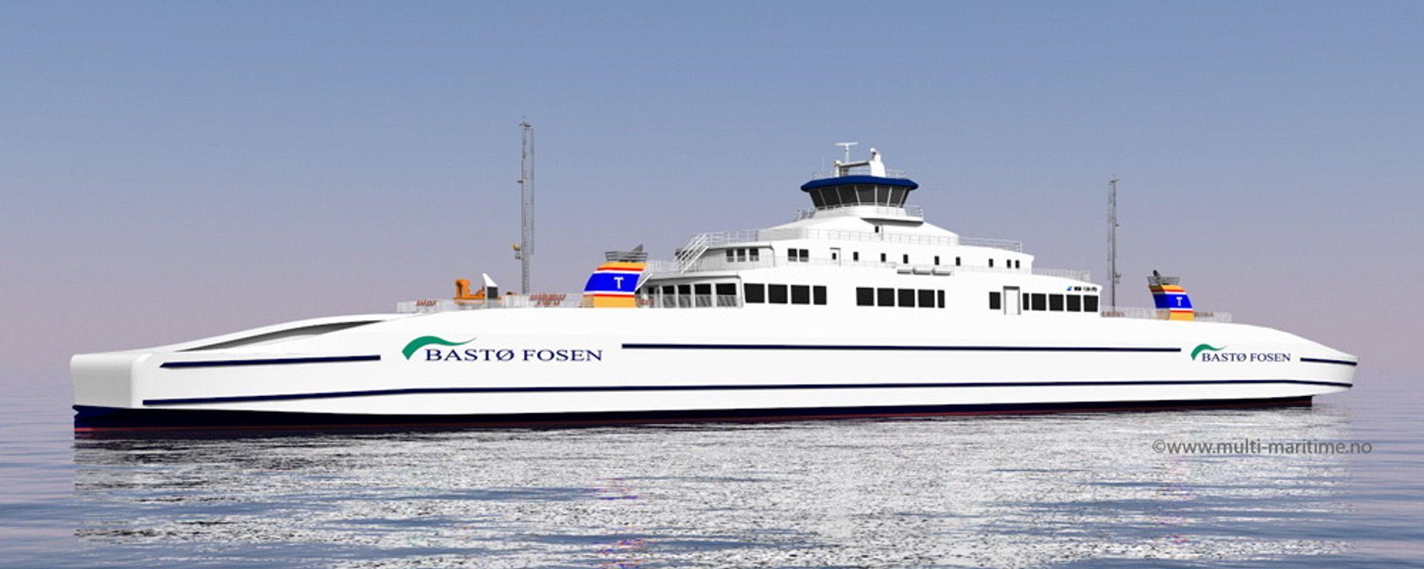 Ny ferje for Moss-Horten-sambandet. Designet av Multi  Maritime med plass til 200 biler, 24-30 vogntog og 600 passasjerer. Ferjen blir 142 meter lang og 21 meter bred.