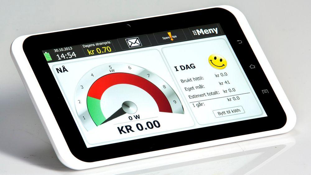 Display kan gi mange god oversikt over strømforbruket, men energimyndighetene har ikke inkludert display i AMS-utrullingen. Her er et nytt energidisplay, tidligere brukt i et testprosjekt på Hvaler, som ga betydelige effekter på forbruket. Foto: eWave