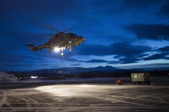 Siste takeoff fra Bardufoss for Lynx 228. Dette helikopteret skal til Luftforsvarets skolesenter Kjevik.