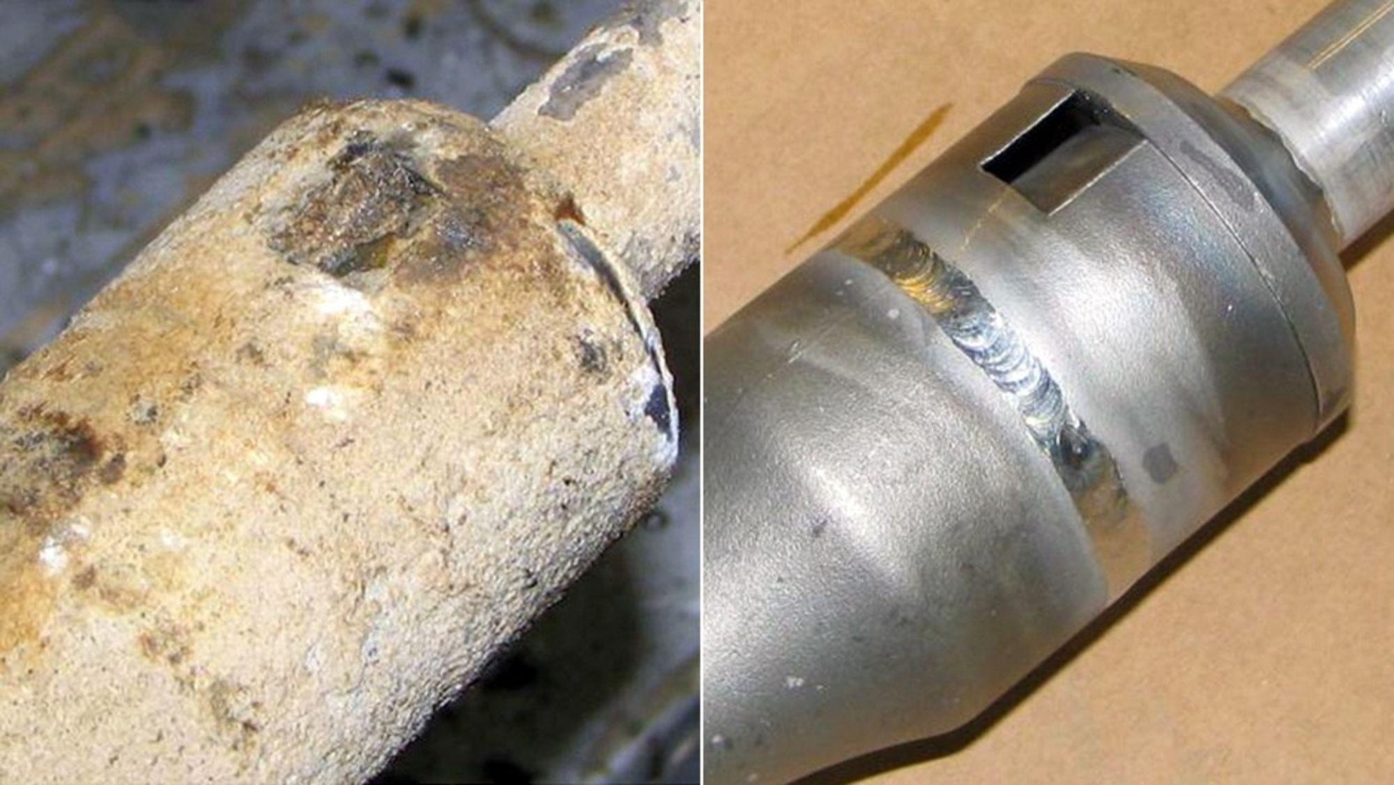 Før og etter: Slik ser hydrosyklonen ut før og etter rensing.