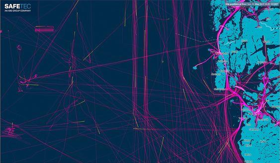 Hektisk: Skipstrafikken inn og ut fra Stavanger-området to dager i mai i år.