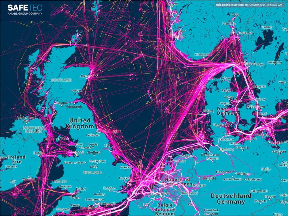 Ruter: AIS-data for to dager i mai i år viser hvor det er tettest skipstrafikk.