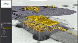 Spaser rundt på oljeinstallasjoner som i et dataspill