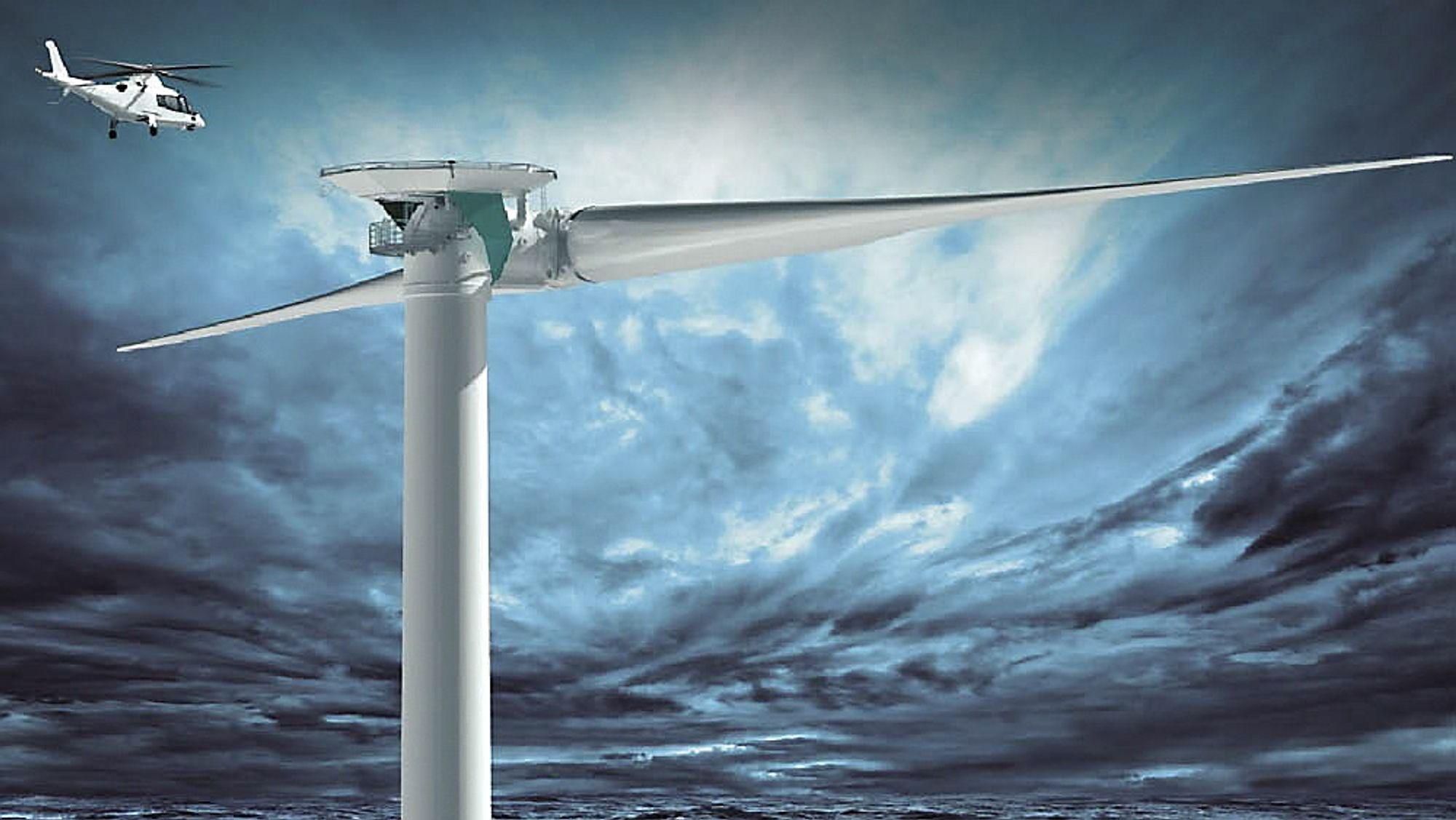 Tyske Aerodyn står for designet av den tobladede havvindmøllen som skal monteres i Norge i løpet av 2016. Illustrasjonen viser er en større variant (8MW) av samme turbin. Den norske turbinen får en effekt på 6 MW.