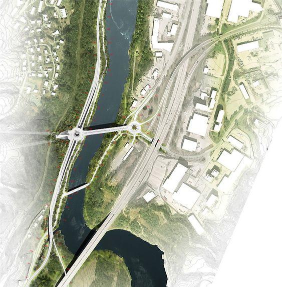 Bru ved Sluppen binder sammen Byåsen, rv. 706 Osloveien og E6 Omkjøringsvegen.