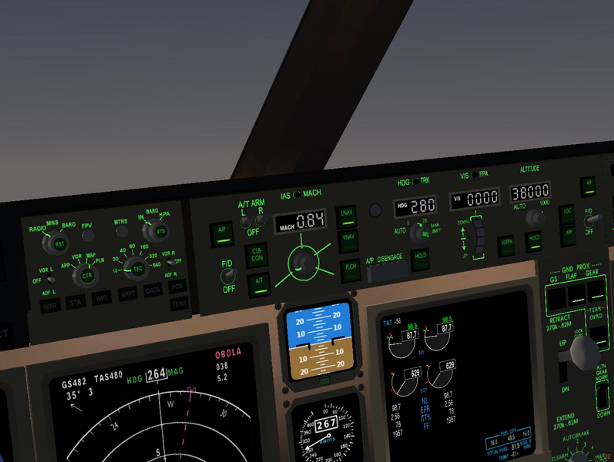 Illustrasjon av autopiloten til Boeing 777, som Havarikommisjonen slår fast at pilotene ikke kunne godt nok.