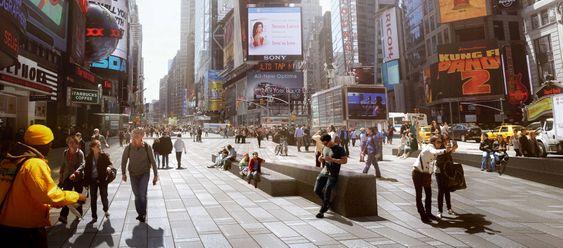 Mer enn 300.000 mennesker går gjennom Times Square hver dag. Flyt og sikkerhet for fotgjengere er blant Snøhettas hovedutfordringer.