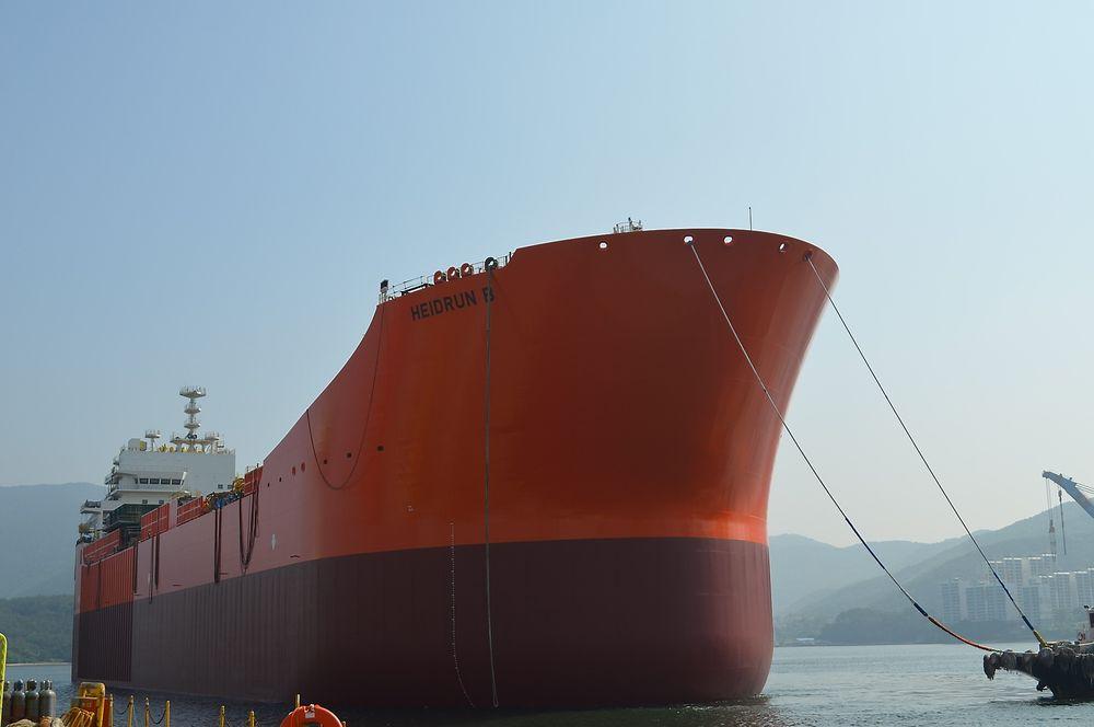 Heidrun B er sjøsatt, og skal frem til desember gjøres ferdig til avreise fra Korea til Norge.