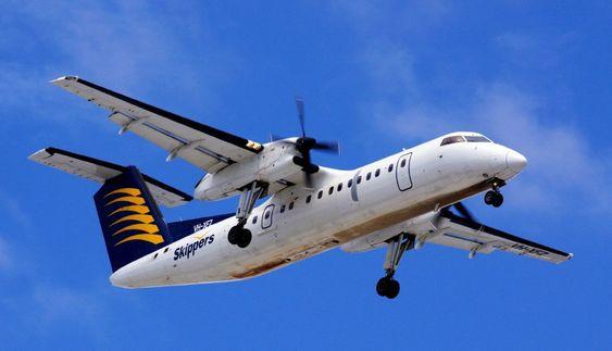 """Det var et tilsvarende Dash 8-300 fra Skippers Aviation som så vidt klarte å unngå """"midair""""-kollisjon med en ubemannet luftfarkost."""