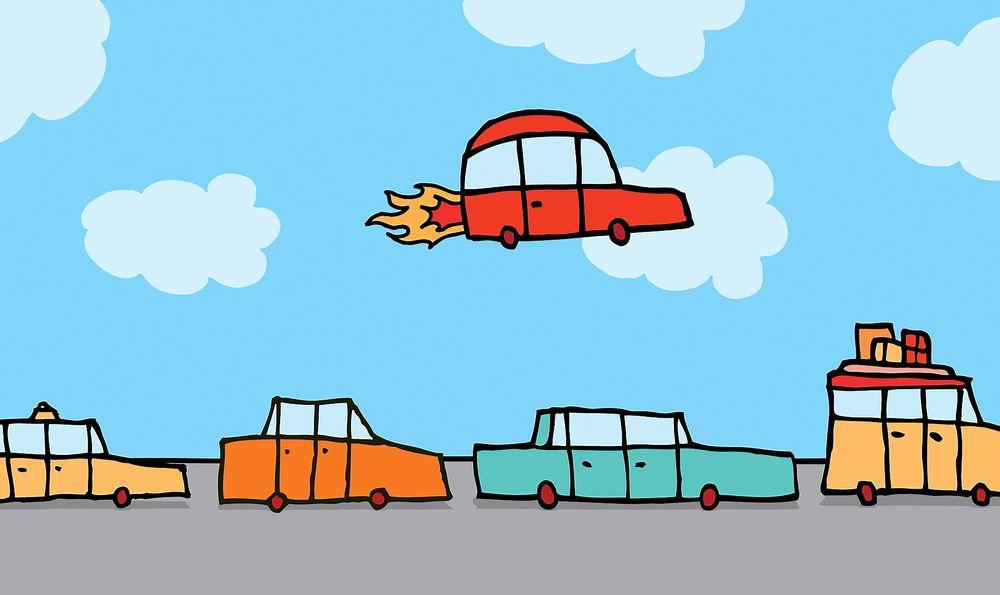 Bilprodusenten Toyota ser nærmere på muligheten for flyvende biler. Denne tegningen er kun en illustrasjon og har ingen direkte sammenheng med Toyotas forskning.