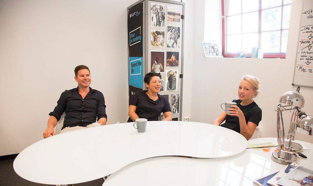 Grunnleggerne av MashUP ønsker mer digital innovasjon i musikkbransjen. Fra venstre: Kjartan Slette, Ida Faldbakken og Sigri Sevaldsen.