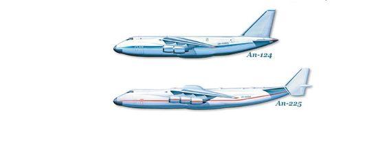 Antonov er på mange måter synonymt med digre transportfly. An-225 (nederst) kan frakte 250 tonn nyttelast, mens An-124 har en kapasitet på 100 tonn.