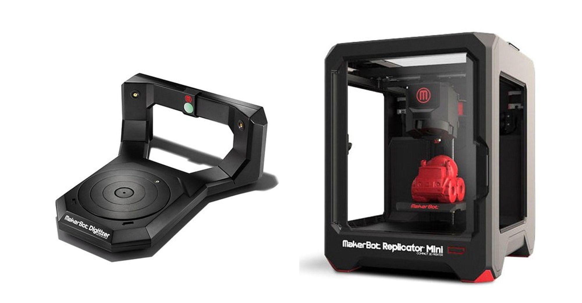Makerbot lager noen av de rimeligste og mest populære 3D-skannerne og 3D-printerne i markedet.Til venstre har vi MakerBot Digitizer, som skanner objekter på den roterende platen og lager en 3D-modell av den i programvaren på PC-en, som siden kan benyttes til å duplisere enheten i 3D-printeren til høyre, MakerBot Replicator Mini.