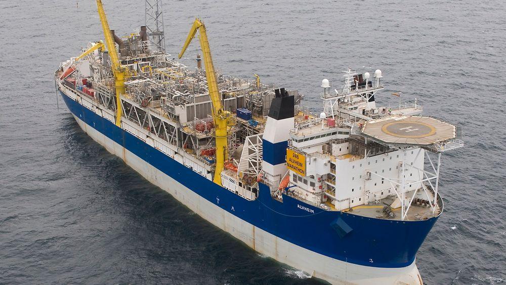 Det norske kjøper Marathon Oil. Her Marathons produksjonsskip på Alvheim-feltet.