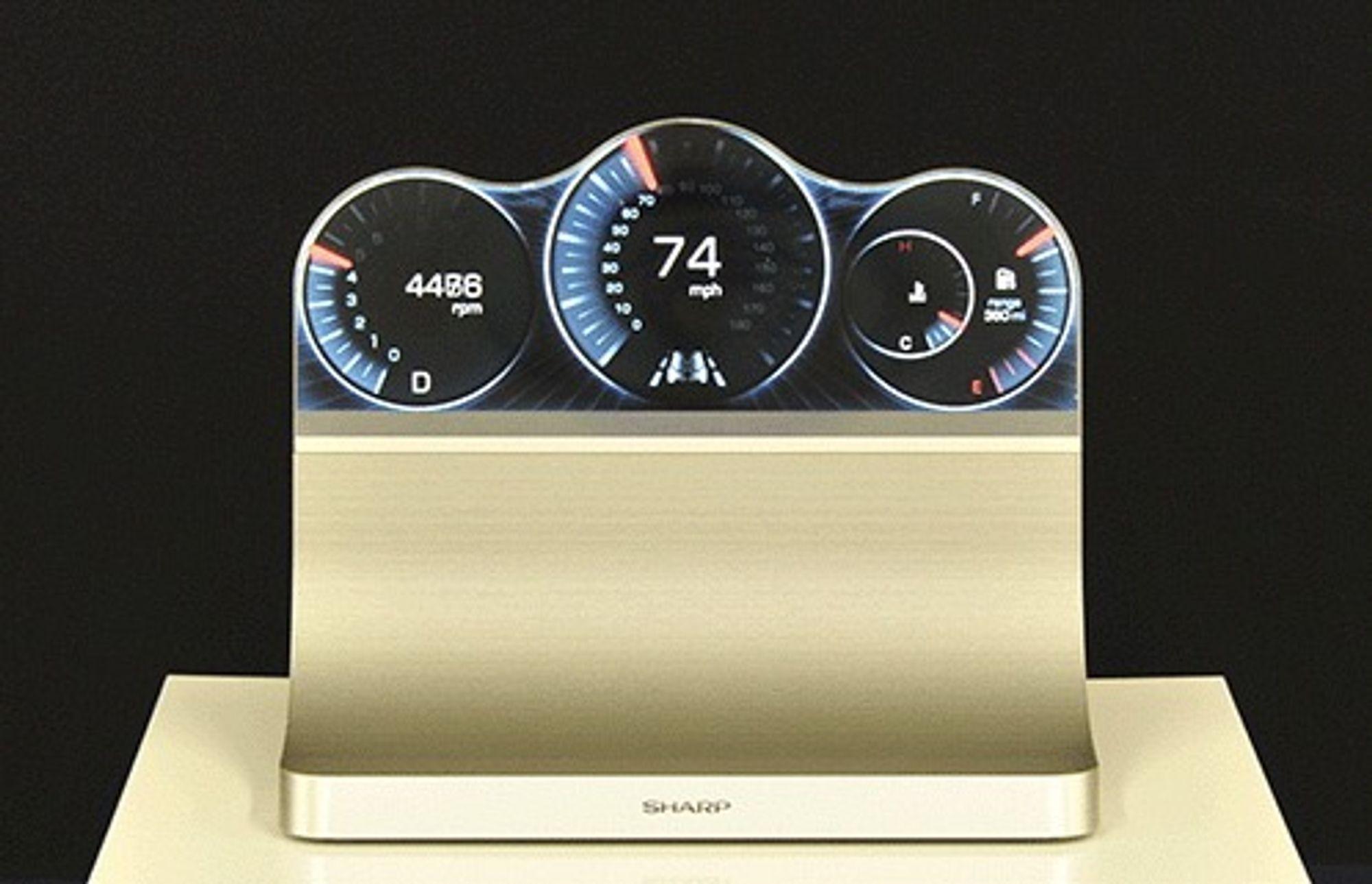 Sharp demonsterer hvordan instrumentpanelet i en bil kan bestå av én enkelt skjerm.