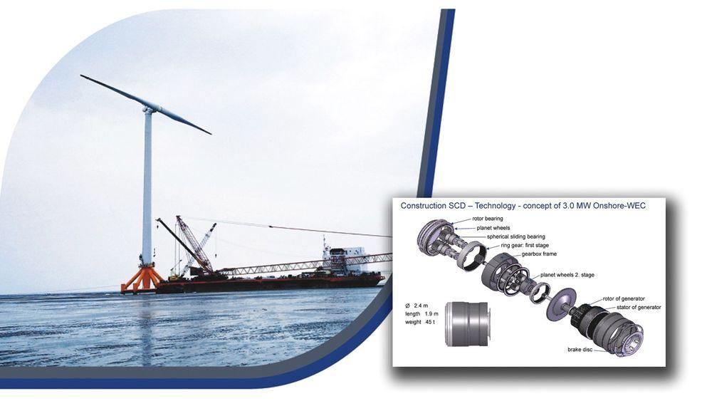 """En 6 MW-versjon av China Min Yang Wind Powers såkalte """"Super Compact Drive"""" skal føres opp utenfor Karmøy om avtalen mellom dem og Marin Energi Testcentre går i boks. Her selskapets 3 MW SCD-turbin."""