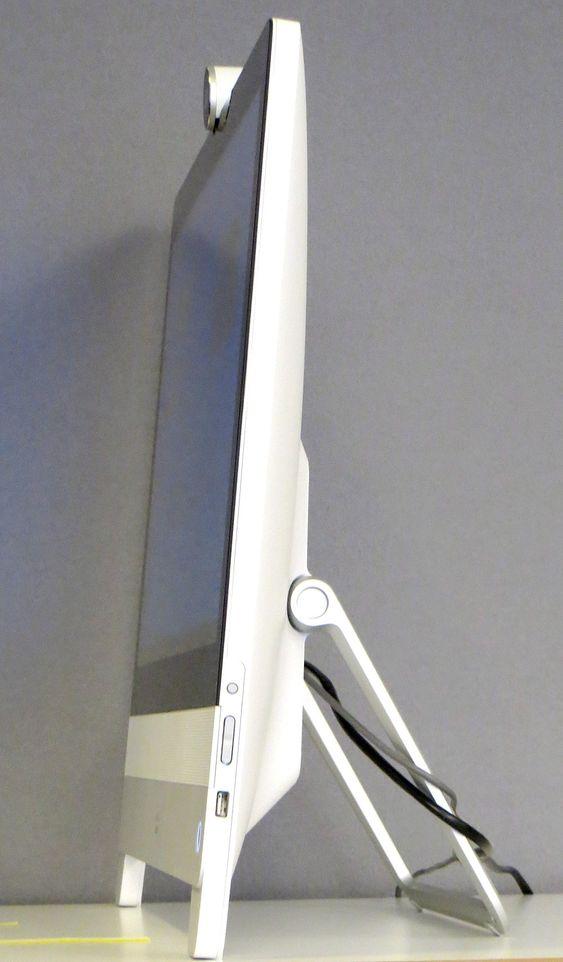 Den fleksible støtten er fjærbelastet. Et lett trykk øverst på skjermen forandrer vinkelen.