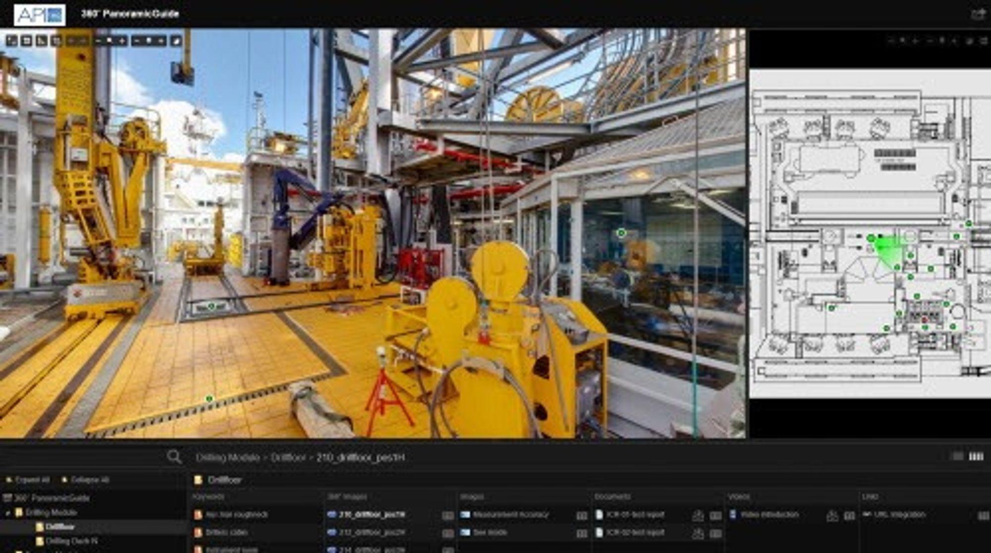 Zoom og mål: Slik ser en skjermdump fra Apiteqs visualiseringsverktøy 360° PanoramicGuide ut. Verktøyet tar utgangspunkt i 100 megapixel 360 graders fotografier, hvor du blant annet kan zoome inn på tagnummer på enkeltkomponenter, og måle avstanden mellom to punkter.