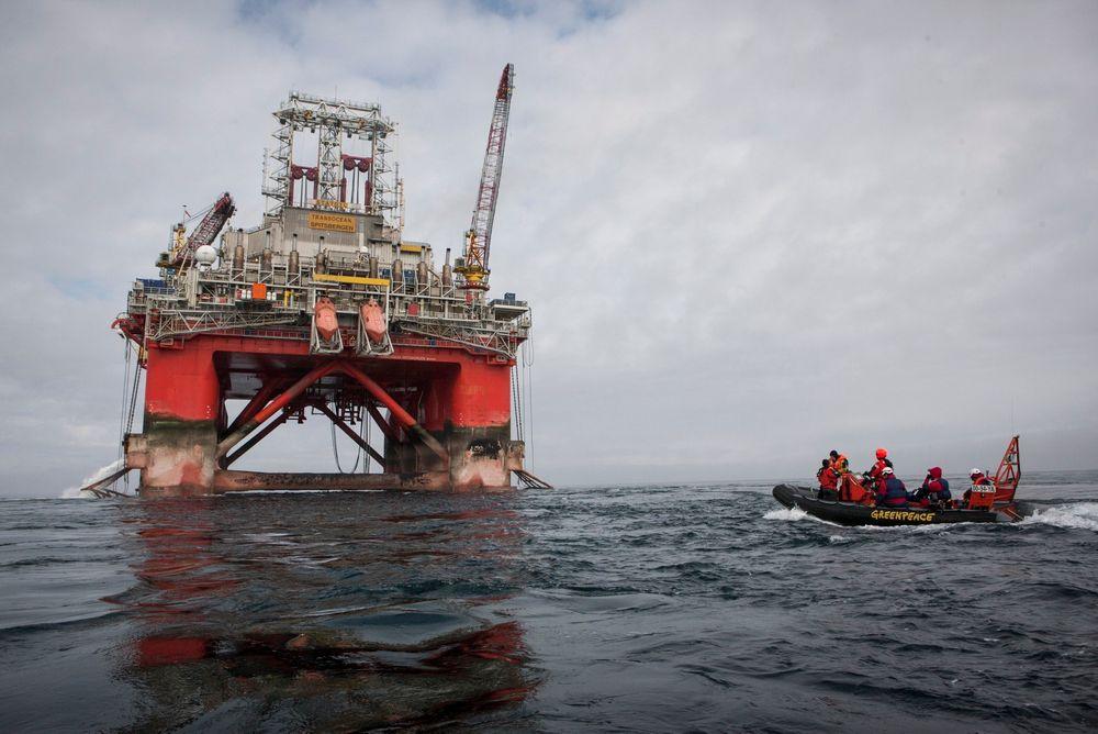 Transocean Spitsbergen holder nå på å bore i Atlantis-prospektet i Hoop-området. Greenpeace aksjonerte tidligere i sommer mot riggen før den skulle bore i Apollo-prospektet like ved, som viste seg å være tørt.