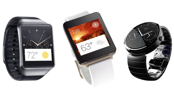 Fra venstre: Samsung Gear Live, LG G Watch og Motorola Moto360.