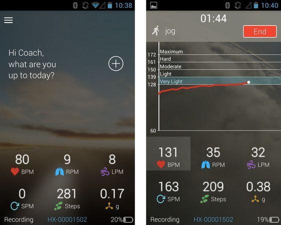 Slik ser Android-appen til Hexoskin ut.