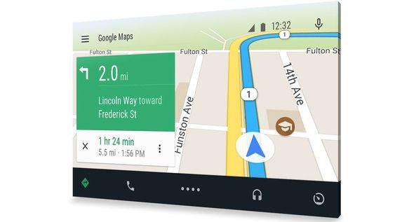Android Auto lar deg vise en egen bilmodus på bilens skjerm. All databehanling skjer på mobilen.
