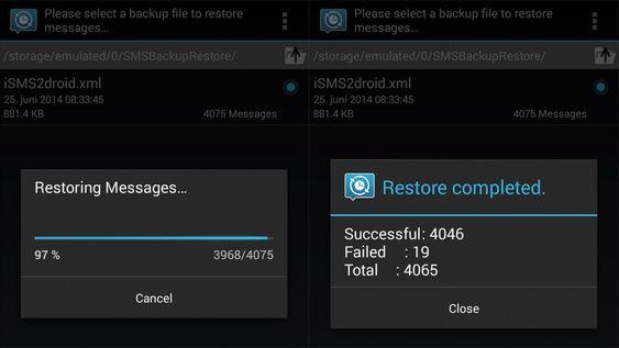 Her importerer vi SMS fra iPhone til Android ved hjelp av SMS Backup & Restore.