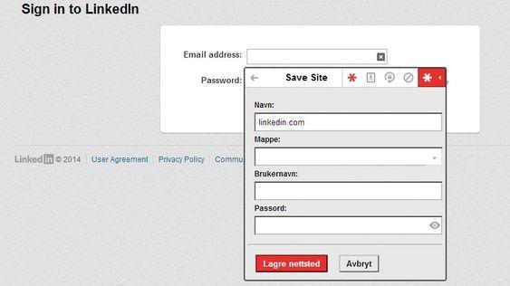 Det er lett å registrere nytt brukernavn og passord på en tjeneste. Gjør du dette på PC-en vil informasjonen være tilgjengelig på andre enheter også. Dermed slipper du å plotte inn brukernavn og passord dersom du bruker en tilknyttet app, som LinkedIn i dette tilfellet.