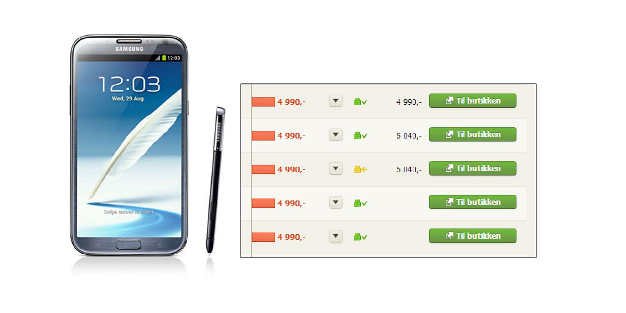 Nå er Galaxy Note II i butikk
