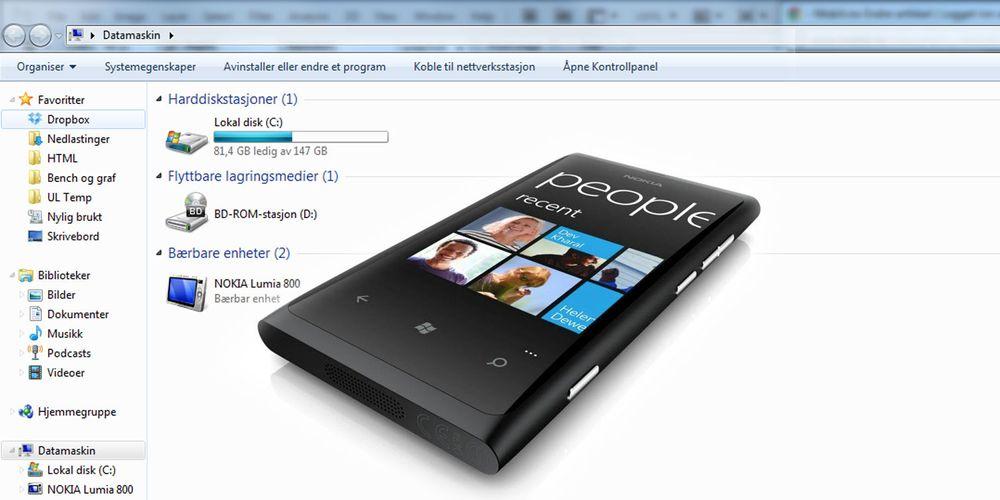 Bruk Windows-mobilen din som flyttbar disk