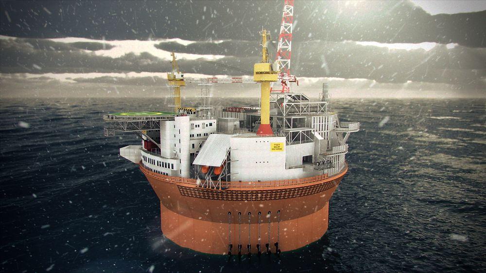 Goliat skal bygges ut som en flytende produksjons- og lagringsenhet (FPSO) og skal bli det første oljefeltet i drift i Barentshavet. Illustrasjon: Eni
