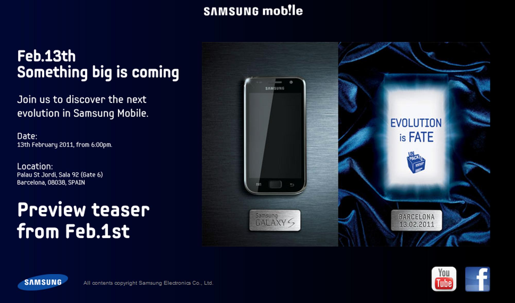 Galaxy S-oppfølger i februar