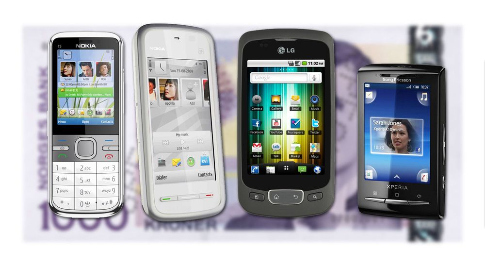 Fire knalltelefoner til under 2000 kroner