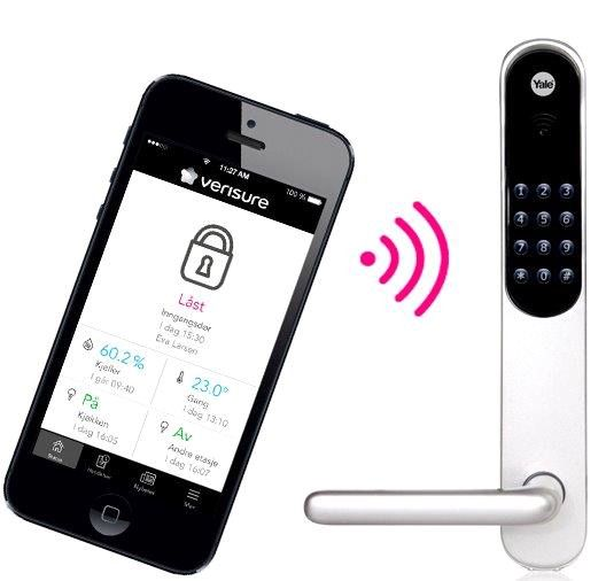 Bytter alt: Med Yale  Doorman v2 bytter man hele låsemekansimen i døren og får en veldig fleksibel løsning. Her er nøkkelen erstattet med enten en kode som tastes inn, RFID-brikker, eller en app på telefonen som sjekker informasjonen mot Verisure i nettskyen. Låsen er det mulig å fjernåpne døra for barn og vaskehjelper.