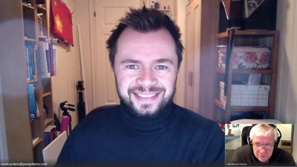 På video: Det er naturlig å møte de nye norske videokonferanseselskapene på video, slik som Anders Løkke i Pexip, fra sitt hjemmekontor via en Lync-klient inn i hans Pexip-møterom.