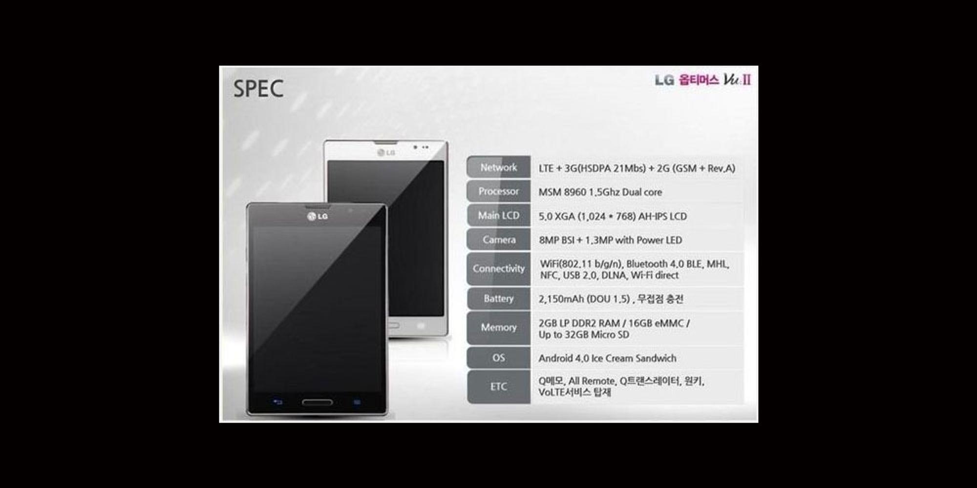 Oppfølger til LG Optimus Vu er lekket